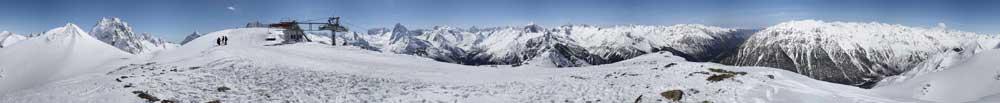 панорама домбайских гор